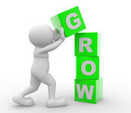 Grow. 3d people - man, person with cubes and a word  Grow. Concept of growth Royalty Free Stock Photos