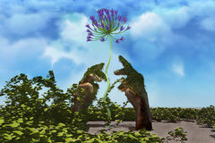 Grow. Conceptual image. Illustration symbolizing the care, support and care for the natural environment Stock Photo
