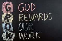 GROW acronym. For God rewards our work royalty free stock images
