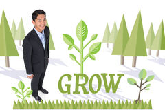 Grow against forest with trees Stock Images