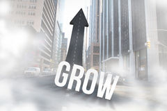 Grow against road turning into arrow. The word grow against road turning into arrow Royalty Free Stock Image