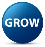 Grow blue round button Royalty Free Stock Images