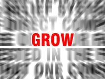 Grow. Blurred text with focus on stock illustration