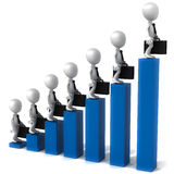 Grow business. 3d business men standing on each level of blue graphs, white background Royalty Free Stock Photo