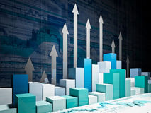 Grow business chart. Fine 3d image of financial business chart Stock Photo