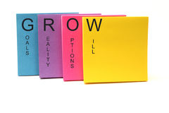 GROW Concept Sticky Notes Stock Images