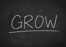 Grow. Concept word on blackboard background stock photo