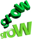 Grow 3d Green Text Stock Photo