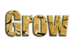 grow Die Aufschrift hat eine Beschaffenheit der Fotografie, die viele ukrainischen Münzen darstellt stockfoto