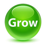 Grow glassy green round button Royalty Free Stock Photography