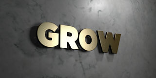 Grow - Gold sign mounted on glossy marble wall  - 3D rendered royalty free stock illustration Stock Photos