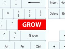 Grow red keyboard button Royalty Free Stock Photography