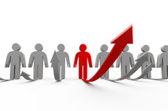Grow of people. 3d render on white royalty free illustration