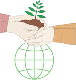 Grow a Plant, Save the earth. Illustration highlighting the need to protect the environment to save the earth from global warming Royalty Free Stock Image