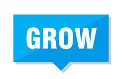Grow price tag. Grow blue square price tag Royalty Free Stock Image