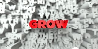GROW -  Red text on typography background - 3D rendered royalty free stock image Stock Image