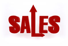 Grow Sales. Red bright 3D Sales sign text object with growing up and forward arrows on white background Stock Image