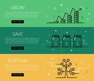 Grow. Save. Fortune. Flat line vector web banners set Stock Photography