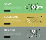 Grow Successful Business. Web banners  set Royalty Free Stock Images
