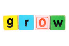 Grow in toy letters with clipping path Stock Photo