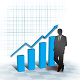 Grow up. Business man on the chartboard Stock Photo