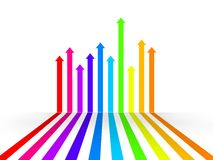 Grow up arrows. 3d illustration of multicolored arrows that grow up on white background Royalty Free Stock Images