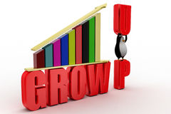 Grow up  bar chart graph  with penguin Royalty Free Stock Photography