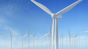 Grow up building wind turbines generating energy. Grow up building working wind turbines generating green energy renewable electricity concept blue sky stock video footage