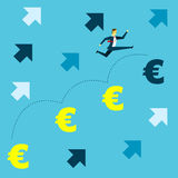 Grow up. Manager jumped onto the euro currency symbol to the spirit. Concept business  illustration. Royalty Free Stock Images