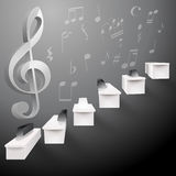 Grow up piano black and white stairs and g key. And musical notes Royalty Free Stock Image