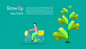Grow up your profit. a human ride a bicycle for keeping percentage from tree passive income business marketing. invest together. Vector illustration eps10, job stock illustration