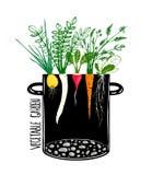 Grow Vegetable Garden and Cook Soup Stock Photo