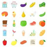 Grow vegetables icons set, cartoon style. Grow vegetables icons set. Cartoon set of 25 grow vegetables vector icons for web isolated on white background Royalty Free Stock Image