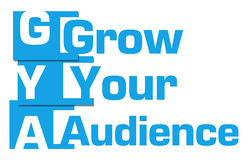 Grow Your Audience Abstract Blue Stripes. Grow your audience text written over blue background Stock Images