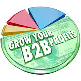 Grow Your B2B Profits Pie Chart Increase Business Sales. Grow Your B2B Profits words on a 3d pie chart showing increased profits, revenues and earnings in sales Stock Image