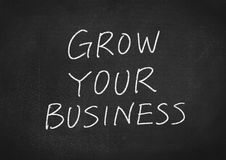 Grow your business. Concept words on a blackboard background Royalty Free Stock Photos