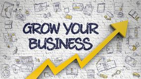 Grow Your Business Drawn on White Wall. Grow Your Business - Modern Line Style Illustration with Doodle Design Elements. Grow Your Business Inscription on the Stock Images