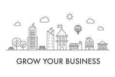 Grow your business poster with city sign on white. Motivation startup project. Thin-line image Royalty Free Stock Photos