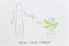 Grow your career, man watering a plant with CV growing from it. Grow your career conceptual illustration: man watering a plant with CV papers growing from it Royalty Free Stock Photos