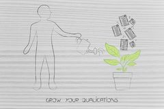Grow your career, man watering a plant with degrees growing from. Grow your career conceptual illustration: man watering a plant with degrees and diplomas Royalty Free Stock Photography