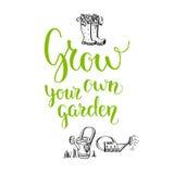 Grow your garden lettering Royalty Free Stock Photos