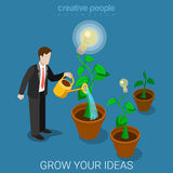 Grow your idea business watering lamp flat 3d isometric vector. Flat 3d isometric style grow your idea concept web infographics vector illustration. Businessman Royalty Free Stock Photos