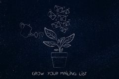 Watering a plant with emails growing from it, mailing list growt. Grow your mailing list conceptual illustration: watering a plant with emails growing from it Stock Image