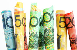 Grow your Money. Australian bank notes, with white background Stock Images