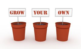Grow Your Own. Illustration of three plant pots each with a sign that together say Grow Your Own Stock Photography