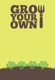Grow Your Own poster_Brocolli. An illustration of a garden poster on a portrait format with the text Grow Your Own. A row of brocolli grow through brown earth at Stock Photo