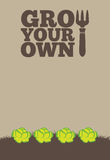 Grow Your Own poster_Lettuce. An illustration of a garden poster on a portrait format with the text Grow Your Own. A row of green lettuce grow through brown Royalty Free Stock Image