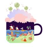 Grow your tale. Creative cup with fantasy land. Stock Photography
