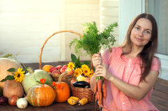 Grower rich harvest of vegetables, Nice girl gardener huge harve Royalty Free Stock Images