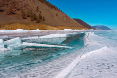 Growers ice iceberg in turquoise water of Lake Baikal Royalty Free Stock Photography